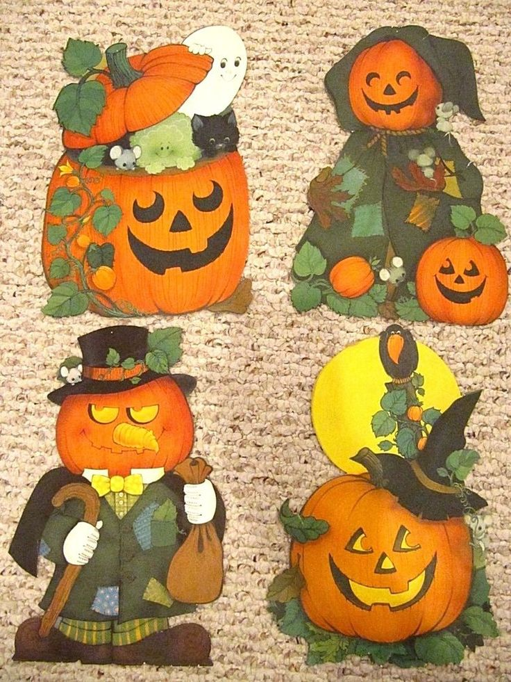vtg lot ambassador card hallmark halloween decor die cut set mice pumpkin witch - Hallmark Halloween Decorations