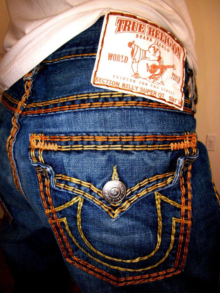 True Religion Jeans (Men's Pre-owned Billy Super QT Heavy Yellow & Orange Stitch Boot Cut Jean Pants)