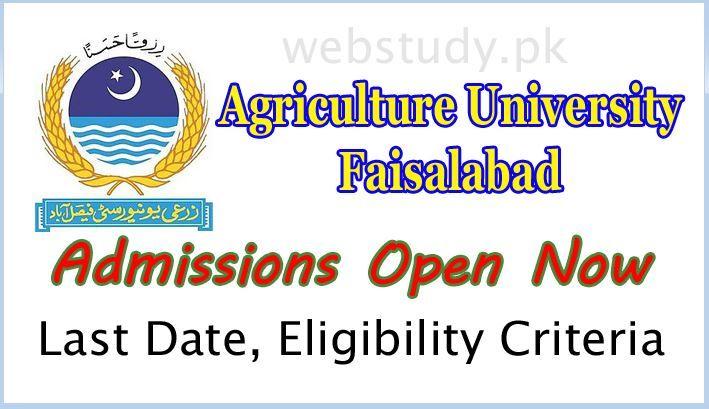 Agriculture University UAF Faisalabad Admission 2018 Last
