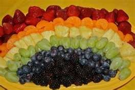 rainbow fruit tray for Noah's Ark baby shower for Dani's twins #babyshow…