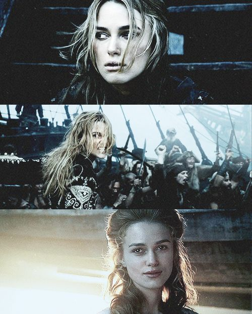 Elizabeth Swann starts off as a young lady who longs for a life of adventure beyond her stifling corsets and harbors a crush for the sexy blacksmith. When she gets kidnapped, she is extremely resourceful and cunning and uses her cache of pirate knowledge to her advantage. She stays strong in the face of danger and ends up learning to be a badass fighter. She gets with her man, but not without a lot of obstacles sacrifices, though it's not a typical happily ever after