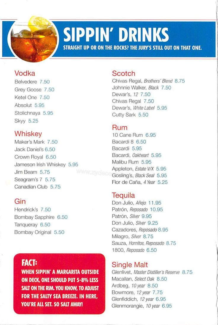 Carnival Bar Menu Page 4 (With images) | Carnival cruise ...