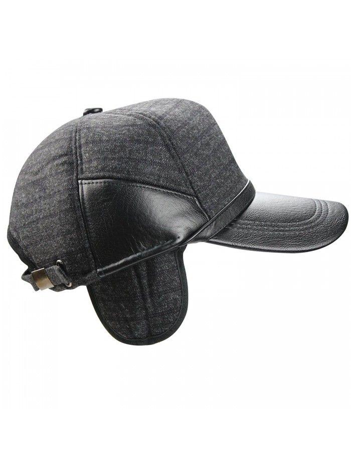 Men s Fall Winter Warm Woolen Peaked Baseball Cap Hat With Earmuffs ... 673be356c13