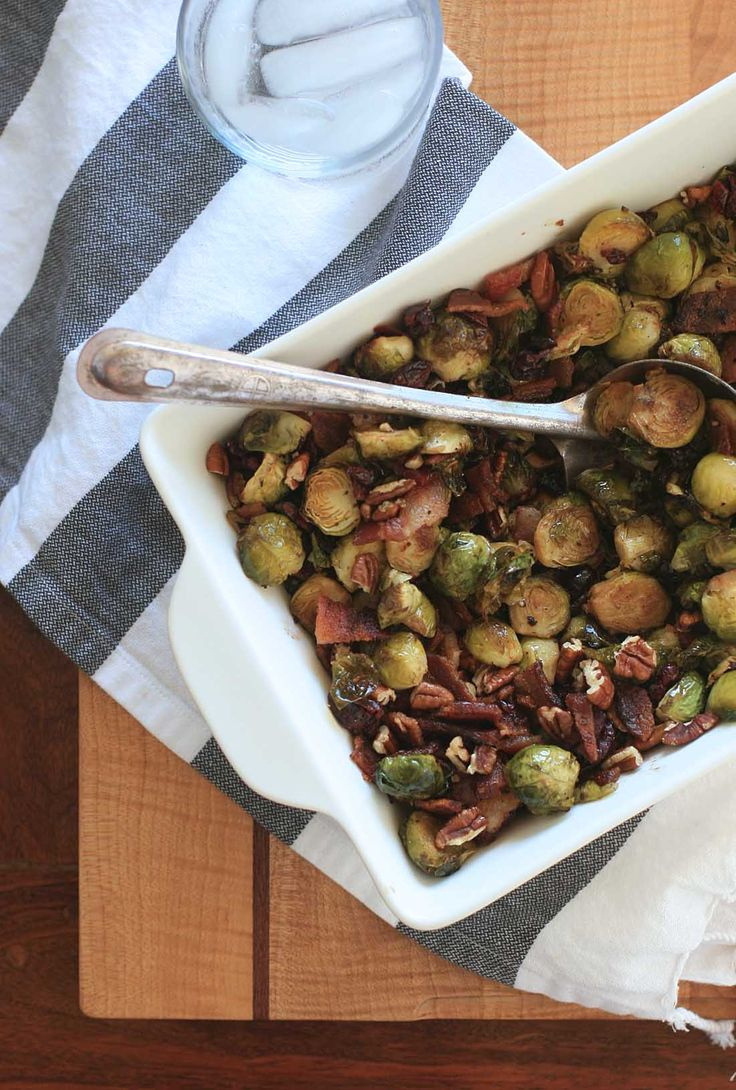 Roasted Brussels Sprouts with Bacon, Cranberries and Toasted Pecans in ...
