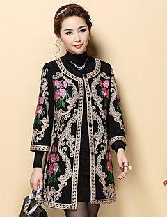 Kadın Orta Diğer ¾ Kol Uzunluğu Yuvarlak Yaka,Siyah Sonbahar / Kış Nakışlı Çin Stili Günlük/Sade-Kadın Kaban