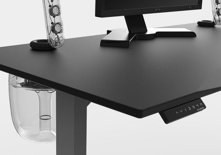 Evodesk black sound system with programmable remote. Look at that sub woofer installed under the standing desk. Gorgeous!