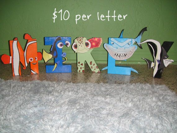 Finding Nemo Character Letter Art by GunnersNook on Etsy, $10.00