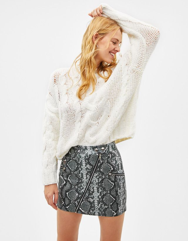 Snake print skirt - Bershka  newin  new  fashion  clothes  animal  print   animalprint  snake  leopard  trend  trendy  cool  2018  tendencia  moda   outfit ... f3d18396c
