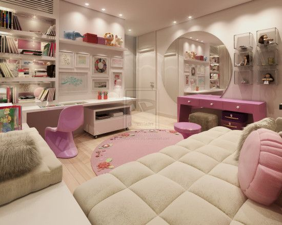 glamorous and modern girls rooms with cozy beds and sweet pink dressing table with large round mirror