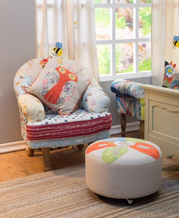 Wood & Fabric Upholstered Chair  http://www.cosynest.com.au/wood-fabric-upholstered-chair-with-girl-image.html#.UtjD9Hne5j4