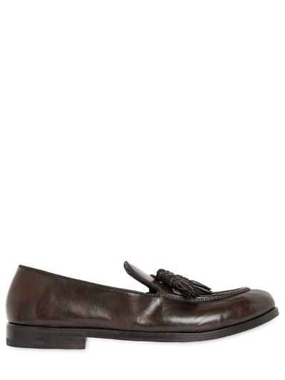 $655, Alberto Fasciani Tasseled Hand Brushed Leather Loafers. Sold by LUISAVIAROMA. Click for more info: https://lookastic.com/men/shop_items/397424/redirect