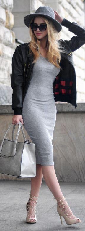 Gray Fedora Hat Black Bomber Jacket Gray Bodycon Dress ...
