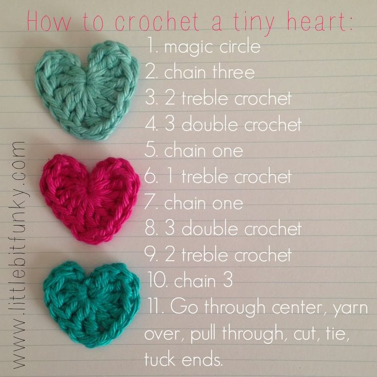 Little Bit Funky: how to crochet a {tiny} heart!