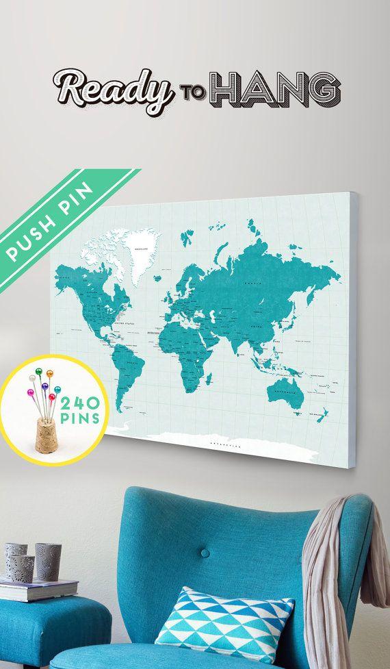 Stunning Mappen Bildergalerie Deko Weltkarte Leinwand Gerahmte Weltkarte Weltkarten Reisekarten Push pinnw nde Push pin art