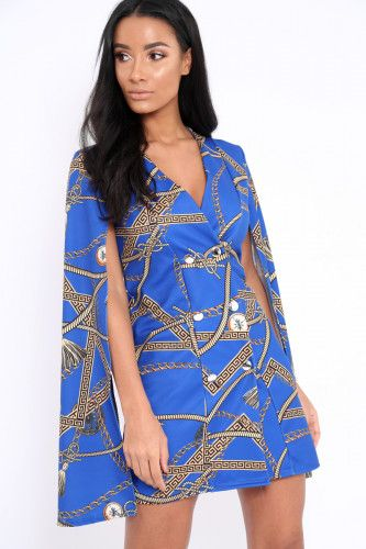 Blue Chain Blazer Cape Dress -  Nirvi