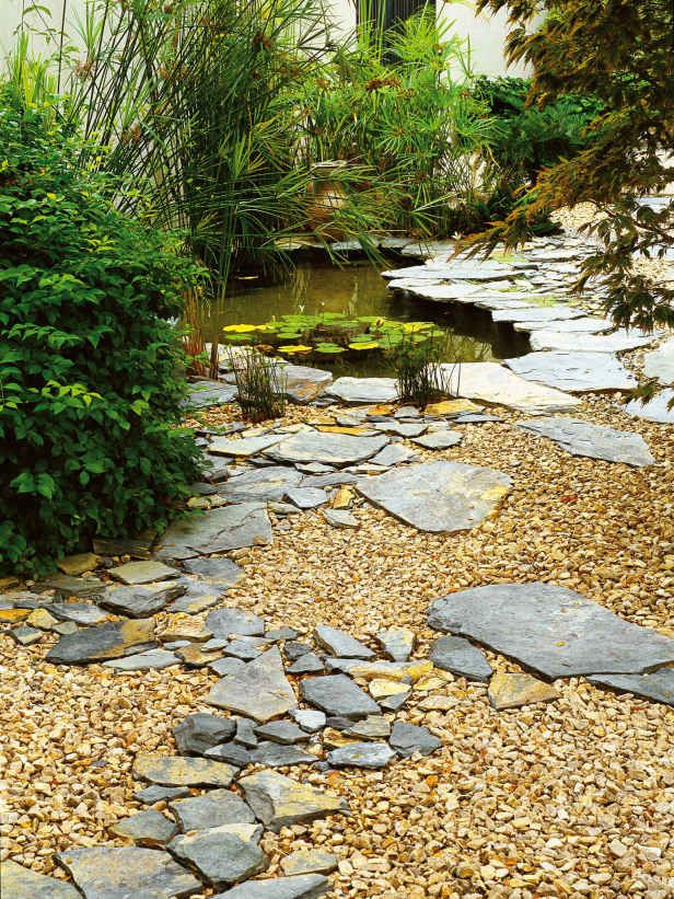 Slate And Gravel Create Natural Look: In This Garden With A Pond, Pieces Of  Slate Combine With Gravel For A Natural Look.
