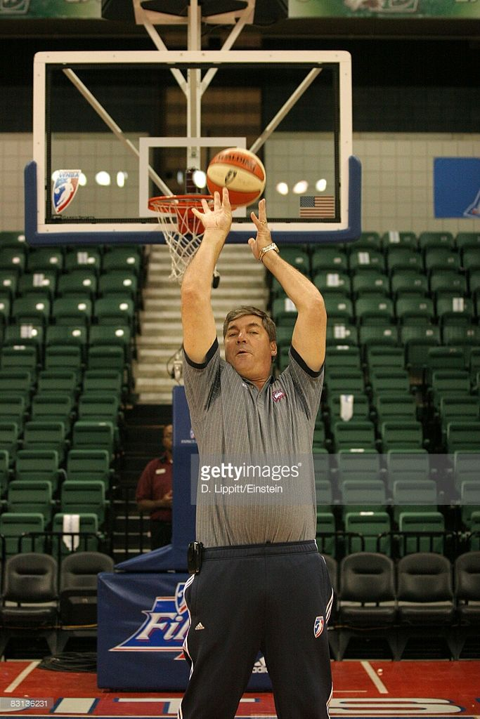 Head Coach Bill Laimbeer of the Detroit Shock shooting free throws backwards before a game against the San Antonio Silver Stars in Game Three of the WNBA Finals on October 5, 2008 at Eastern Michigan's Convocation Center in Ypsilanti, Michigan.