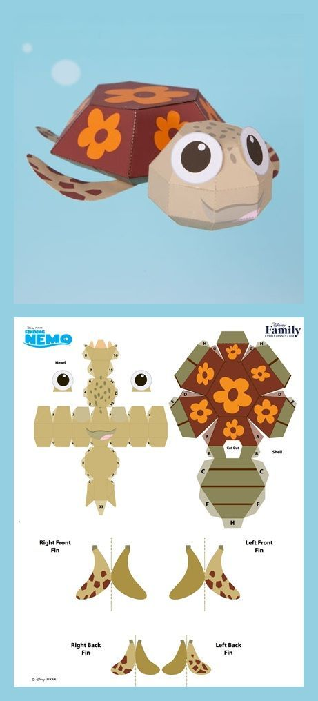 Printable paper sea turtle 3D craft | Squirt from Finding Nemo