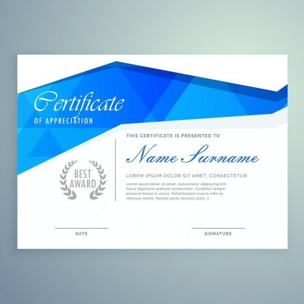 Blue and white diploma Free Vector