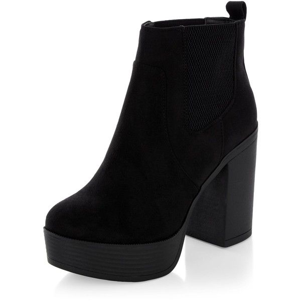New Look Black Suedette Chunky Block Heel Chelsea Boots (£30) ❤ liked on Polyvore featuring shoes, boots, ankle booties, heels, zapatos, black, heeled booties, block heel booties, chunky booties and heeled boots