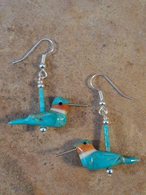 Hand Carved Blue Turquoise Hummingbird Fetish Earrings $24.00