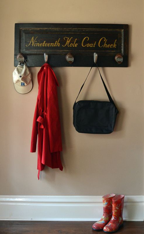 Nineteenth Hole Golf Coat Rack - 5 clubs - Best Golf Gifts - http://secondchanceart.net/product/nineteenth-hole-golf-coat-rack-5-clubs-best-golf-gifts/