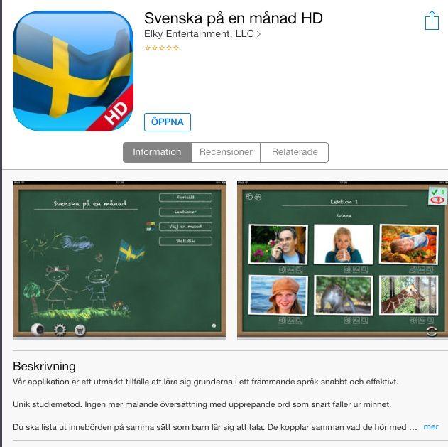Ordkunskap: Svenska på en månad. Länk till AppStore: https://itunes.apple.com/se/app/svenska-pa-en-manad-hd/id522034451?mt=8