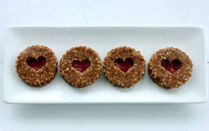Raw Linzer Heart Cookies and Raspberry Chia Jam