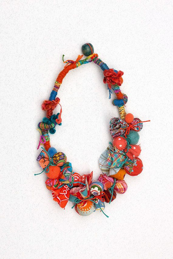 Beaded statement necklace in orange and blue Textile necklace, OOAK chunky rustic jewelry