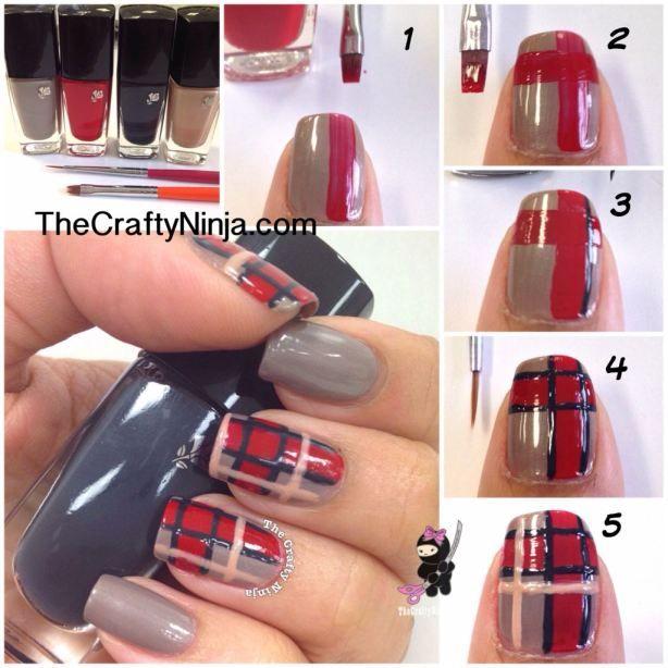 Diy Plaid Print Nails: Diy Plaid Print Nails