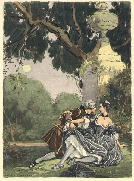 Strolling in the moonlight, I took Mademoiselle Roman into a covered walk…   Giacomo Casanova History of my Life. Artist Auguste Leroux