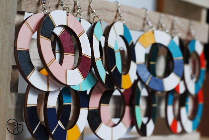 Handmade wooden earrings by PITHY