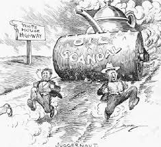 The teapot dome scandal was first caused when Albert B Fall, President Warren Harding's secretary, allowed oil drilling on Wyoming plains after they had been protected by Roosevelt. Albert was later found of guilty of bribery while in office. Edward Doheny offered him a 100,000 interest rate to be allowed to drill on reserved ground in Wyoming and California.
