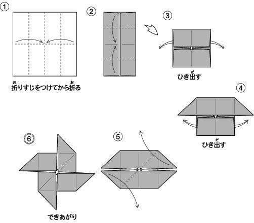 かざぐるま(風車)の折り方