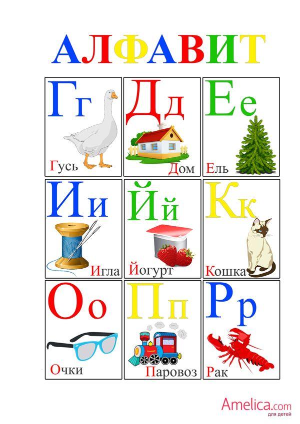 Детский алфавит, плакат буквы русского алфавита для детей