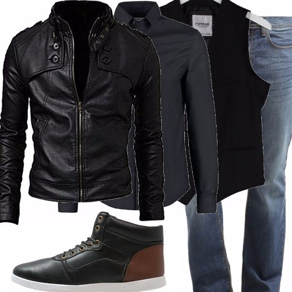 Questo outfit ci piace perché è casual e rock. Ha un certo appeal la giacca di pelle sintetica abbinata alla camicia scura ed al gilet. Il jeans è un must molto conveniente