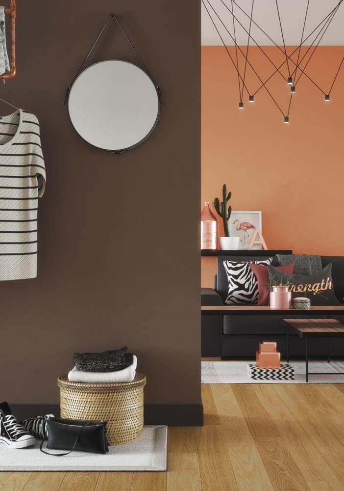 farbige wände braun orange wohnzimmer flur #interiors ...