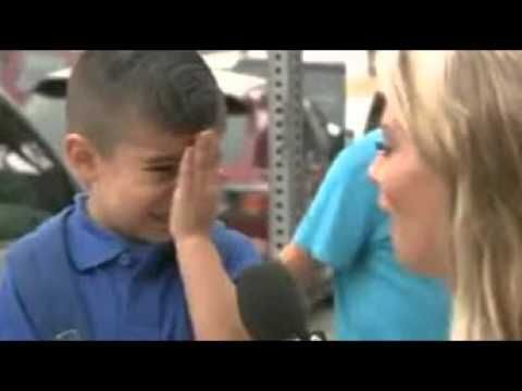 photo |TV reporter makes kid cry when she asks him about first day of sc...