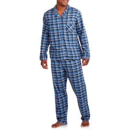 Hanes Big Men's Flannel Pajama Set, Size: 5XL, Blue