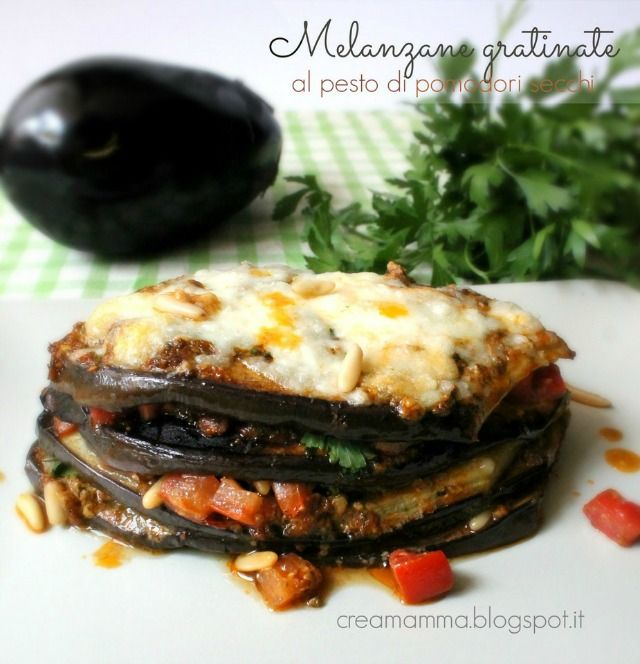 gratin of eggplants with sundried tomato pesto