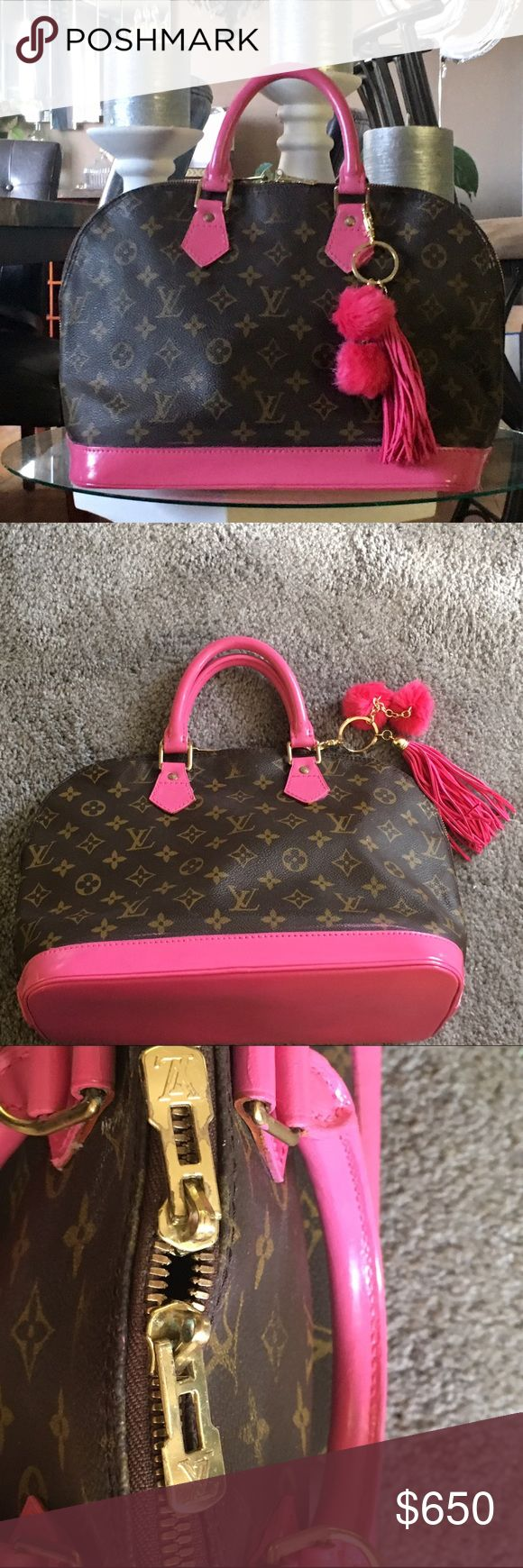 "Authentic Louis Vuitton Alma handbag Authentic Louis Vuitton Alma handbag. Unique pink leather handles and bottom. ✳️looks like new! Model / Brand ModelMonogram BrandLouis Vuitton General Model NumberM51130 NameAlma Country of OriginFrance.                  TypeHandbag GenderWomen Material Monogram ColorMonogram ClosureZipper Inner PocketOpen x 1 Phone holder x 1 Weight23.28oz. 9.25"" L 12.6 W Serial NumberVI1926. 😊key chain included Louis Vuitton Bags"