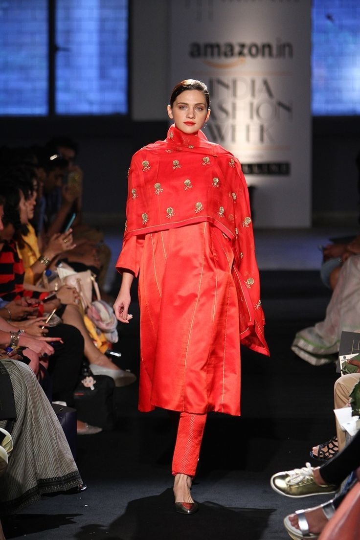 Suit - Sanjay Garg - Crimson red silk suit with red and gold motif dupatta - Amazon India Fashion Week Spring-Summer 2016
