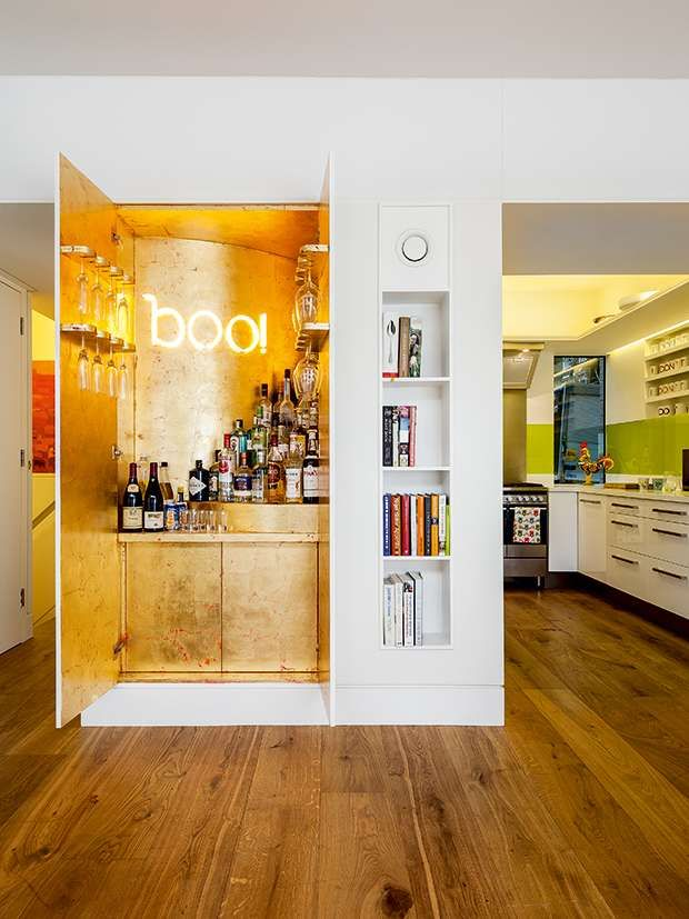 hiding the bar! Great idea for a house full of kids! Don't need it out in the open all the time.