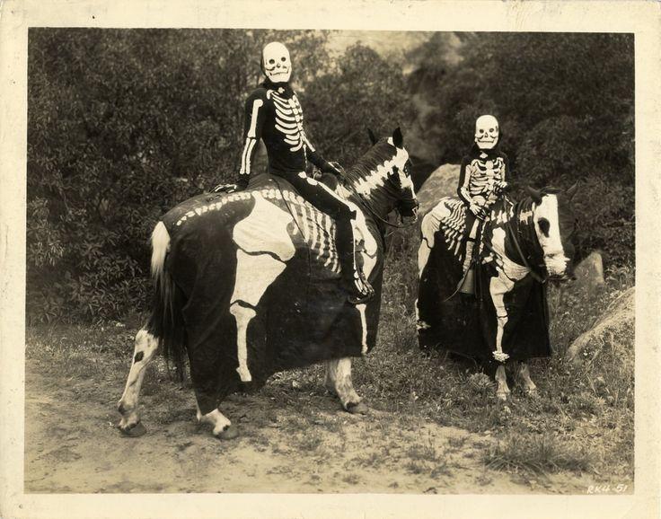 Skeleton riders for Halloween, ca. 1920s