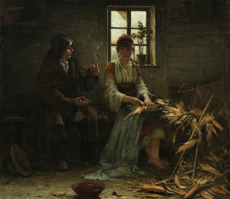 Peeling Corn by Franciszek Ejsmond (1891) The Romanian Blouse http://www.agraart.pl/nowe/object.php?idd=17364=271=48=PLN