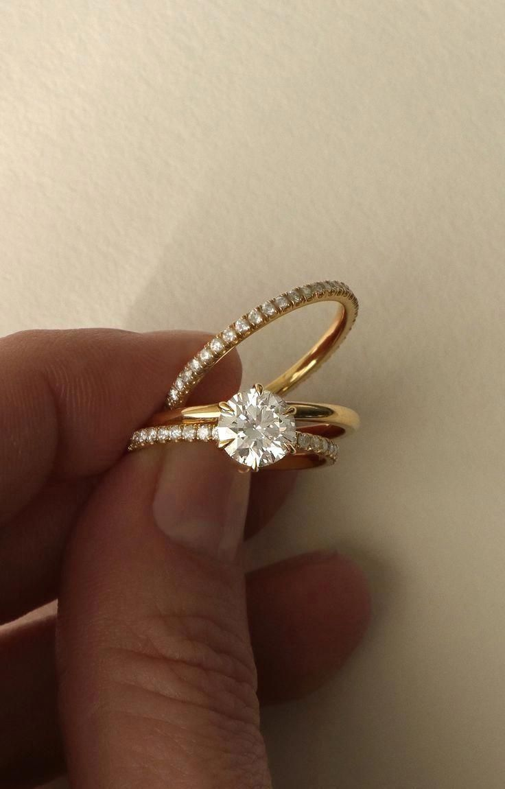 Vow vrai u oro wedding solitaire engagement ring modern simple
