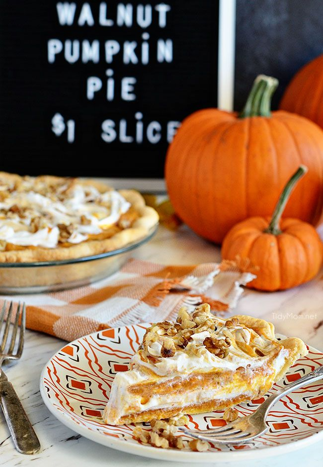 Layered walnut pumpkin pie is not like traditional pumpkin pie. This family favorite is a light, fluffy, cold creamy pumpkin pie they will fight over!