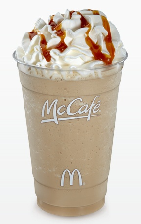 Homemade Caramel Frappe: In a Blender: 1 1/2 cups of ice 1/2 cups of milk 2 tbsps of caramel latte mix Add caramel to the mix Add Whip cream and caramel on top