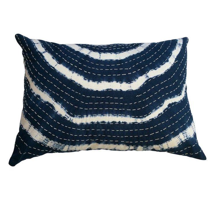 Indigo Wave Tie Dye Stripe Cushion