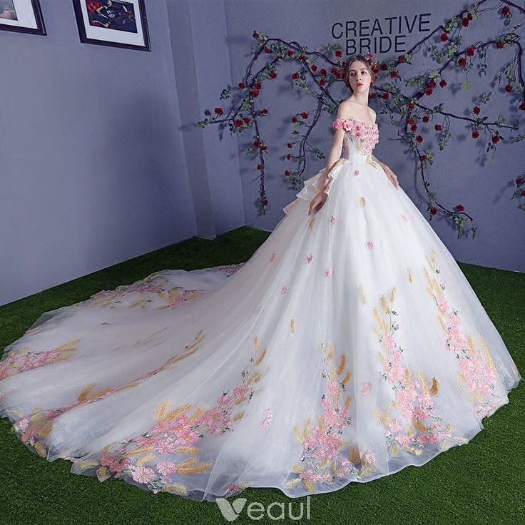 Chic / Beautiful Multi-Colors Wedding Dresses 2018 Ball Gown Appliques Crystal Off-The-Shoulder Backless Sleeveless Royal Train Wedding